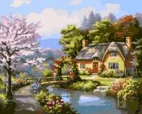 """Картина стразами """"Дом у реки"""""""