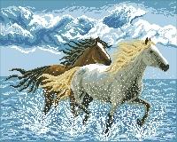 """Картина стразами """"Лошади"""""""