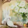 """Картина стразами """"Голуби у белых роз"""""""